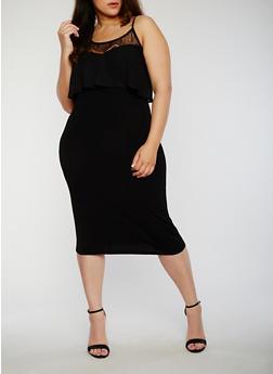 Plus Size Sleeveless Mesh Yoke Bodycon Dress with Ruffle Overlay - 1390056124114