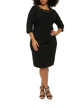 Plus Size Midi Dress with Grommet Scoop Neck - BLACK - 1390056124116