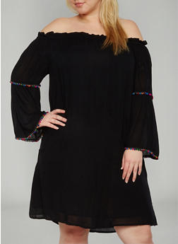 Plus Size Off The Shoulder Peasant Dress with Pom Pom Trim - BLACK - 1390056124124