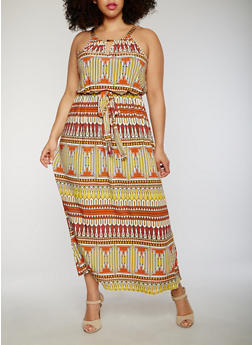 Plus Size Printed Maxi Dress with Chain Halter - 1390056124129