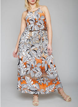 Plus Size Floral Maxi Dress with Chain Link Straps - 1390056124131