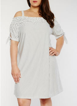 Plus Size Striped Cold Shoulder Dress - 1390056124134