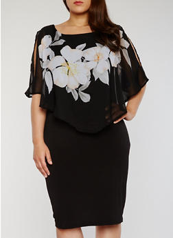 Plus Size Bodycon Dress with Chiffon Floral Overlay - 1390056124137