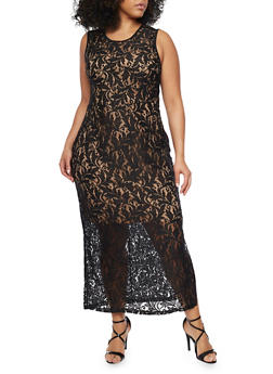 Plus Size Sleeveless Lace Maxi Dress with Back V Neck - 1390056124156