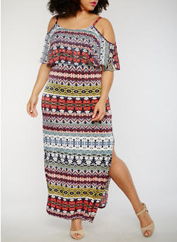 Plus Size Printed Cold Shoulder Maxi Dress - 1390056124161