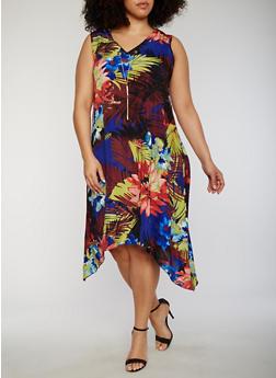 Plus Size Floral Sharkbite Hem Dress with Necklace - 1390056124206