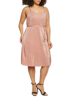 Plus Size Sleeveless Crinkle Knit Dress with Belt - 1390056124260