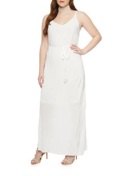 Plus Size Sleeveless Crinkle Maxi Dress with Open Back - IVORY - 1390056124261