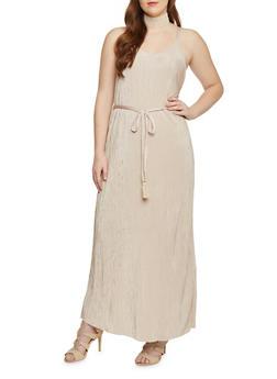 Plus Size Sleeveless Crinkle Maxi Dress with Open Back - 1390056124261