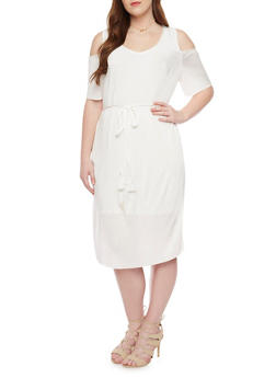 Plus Size Cold Shoulder Crinkle Knit Dress with V Neck and Tie Belt - IVORY - 1390056124262