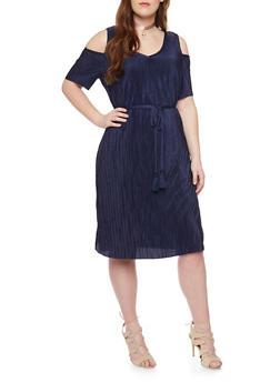 Plus Size Cold Shoulder Crinkle Knit Dress with V Neck and Tie Belt - 1390056124262