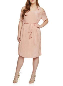 Plus Size Cold Shoulder Crinkle Knit Dress with V Neck and Tie Belt - MAUVE - 1390056124262
