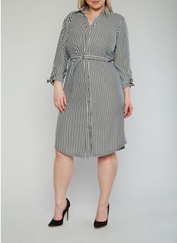 Plus Size Striped Tie Sleeve Shirt Dress - 1390056124264
