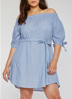 Plus Size Striped Off the Shoulder Dress with Tie Sleeves - 1390056124267