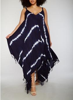 Plus Size Tie Dye Sharkbite Dress with Fringe Hem - 1390056124269