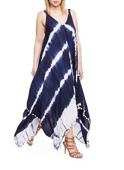 Plus Size Tie Dye V Neck Maxi Dress with Pom Pom Trim - 1390056124270
