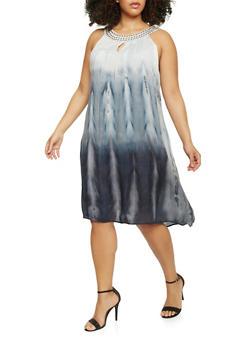 Plus Size Sleeveless Tie Dye Gauze Dress - 1390056124273