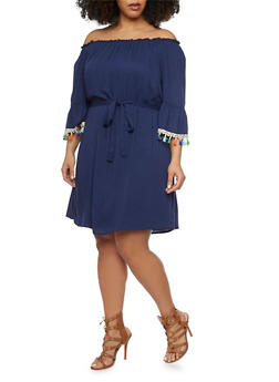 Plus Size Off Shoulder Peasant Dress with Sash Belt - 1390056124274