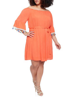 Plus Size Off Shoulder Peasant Dress with Sash Belt - 1390056124274