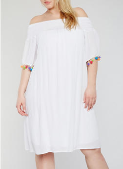 Plus Size Off the Shoulder Pom Pom Trim Shift Dress - 1390056124275