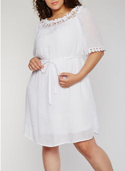 Plus Size Crochet Trimmed Dress with Tie Waist - WHITE - 1390056124280