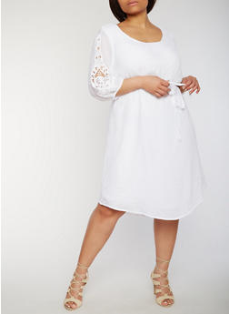 Plus Size 3/4 Crochet Sleeve Dress with Tie Sash - 1390056124281