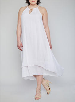 Plus Size Maxi Dress with Keyhole Charm - WHITE - 1390056124284