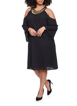 Plus Size Cold Shoulder Flare Sleeve Dress with Embellished Collar - BLACK - 1390056124285