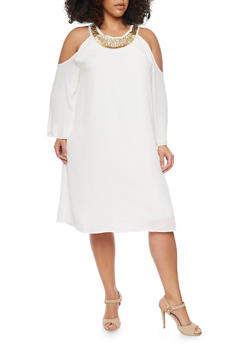 Plus Size Cold Shoulder Flare Sleeve Dress with Embellished Collar - IVORY - 1390056124285