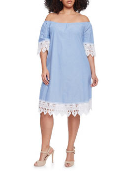 Plus Size Mid Length Off the Shoulder Shift Dress with Crochet Trim - 1390056124287