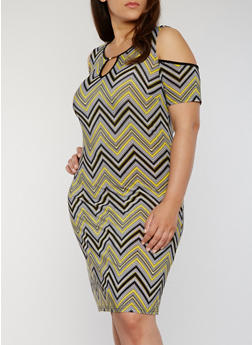 Plus Size Chevron Printed Cold Shoulder Dress with Keyhole - 1390056124342
