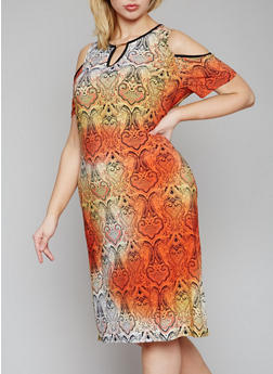 Plus Size Printed Cold Shoulder Dress with Keyhole - 1390056124343
