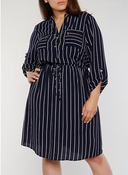 Plus Size Striped Shirt Dress with Tie Waist - 1390056124455