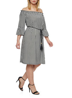 Plus Size Striped Off the Shoulder Belted Dress - 1390056124457