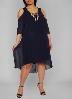 Plus Size Chiffon Cold Shoulder High Low Dress with Necklace - 1390056124464