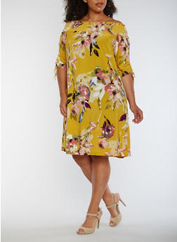 Plus Size Off the Shoulder Floral Peasant Dress - 1390056124497
