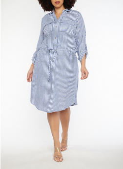 Plus Size Striped Drawstring Waist Dress - 1390056125091