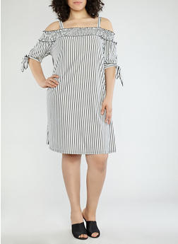 Plus Size Striped Off the Shoulder Dress - 1390056125134