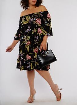Plus Size Floral Off the Shoulder Dress - 1390056125376