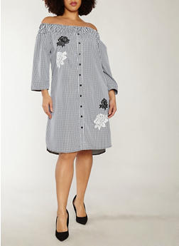 Plus Size Gingham Print Off the Shoulder Dress - 1390056125381