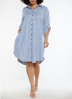 Plus Size Gingham Shirt Dress - 1390056125383