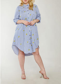 Plus Size Striped Floral Embroidered Button Front Dress - 1390056125386