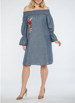 Plus Size Chambray Off the Shoulder Dress - 1390056125477