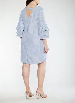Plus Size Tiered Sleeve Striped Dress - 1390056125504
