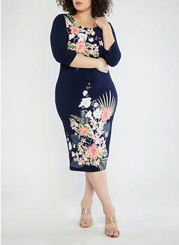 Plus Size Navy Floral Midi Dress - 1390056125515