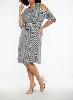 Plus Size Striped Cold Shoulder Dress - 1390056125520