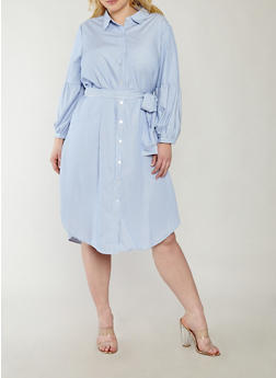 Plus Size Striped Bell Sleeve Shirt Dress - 1390056125541