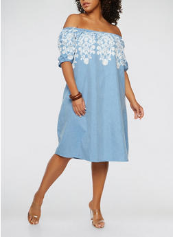 Plus Size Embroidered Off the Shoulder Dress - 1390056125551