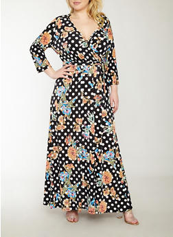 Plus Size Faux Wrap Floral Polka Dot Dress - 1390056125555