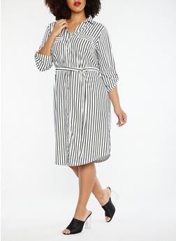 Plus Size Button Front Tie Waist Striped Dress - 1390056125556